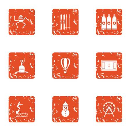 Practice icons set, grunge style