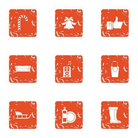 Stay cool icons set, grunge style