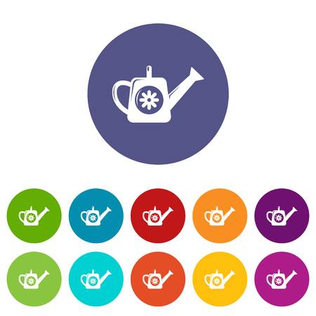 Watering can icons set vector color 向量圖像