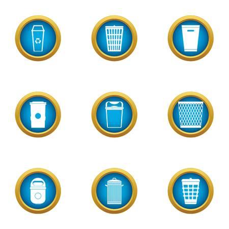 Dustbin icons set, flat style