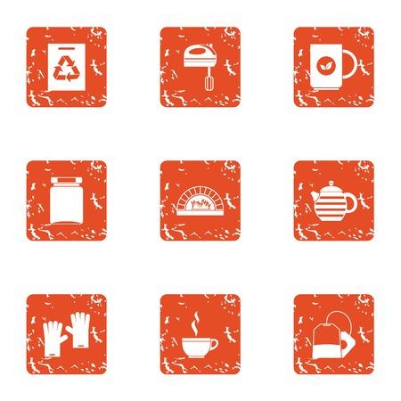 Waste management icons set, grunge style Illustration