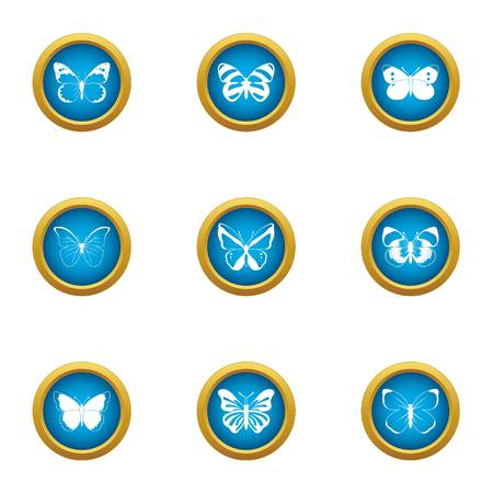 Wave butterfly icons set, flat style