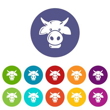 Cow head icons set vector color