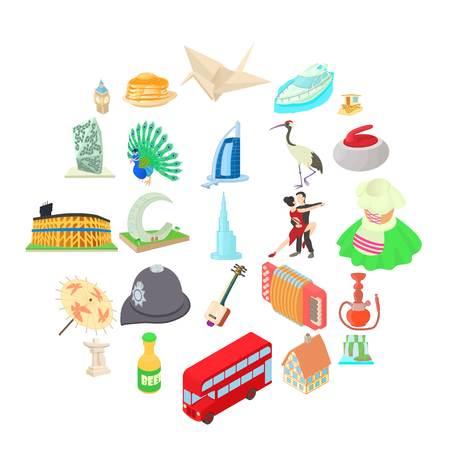 Culture icons set, cartoon style 일러스트
