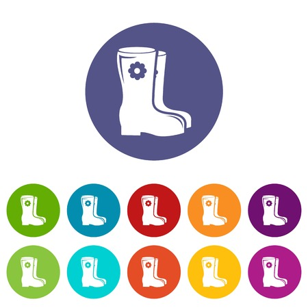 Boots icons set vector color Vectores