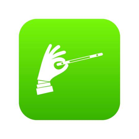 Magician hand with a magic wand icon digital green