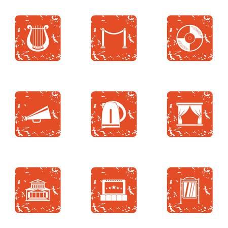 Exposure icons set, grunge style