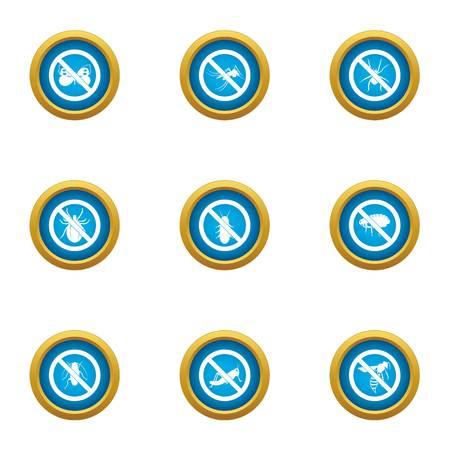 Intoxicate icons set, flat style Illustration