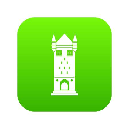 Castle tower icon green vector Illustration