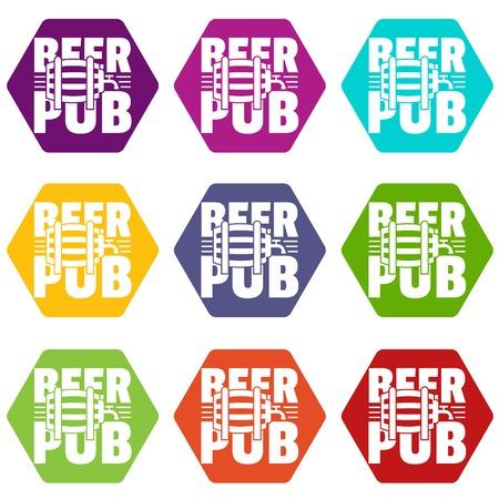 Beer pub icons set 9 vector Illustration