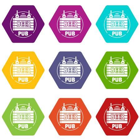 Wood board beer pub icons set 9 vector Illustration