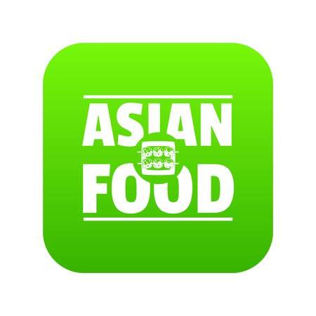 Asian food icon green vector