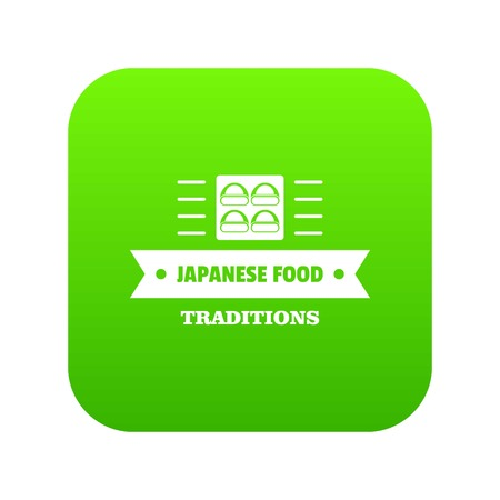 Japanese food icon green vector Illustration