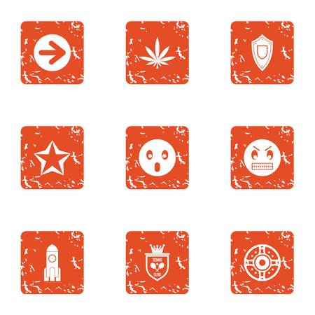 Pin icons set, grunge style Vectores