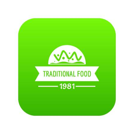Traditional food icon green vector