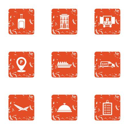 Point of destination icons set, grunge style