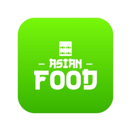 Menu asian food icon green vector Illustration