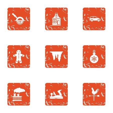 Christmas trip icons set, grunge style