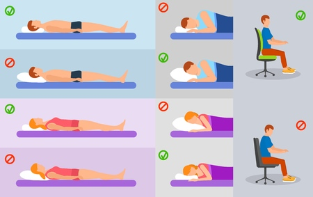 Orthopedic pillow banner concept set, flat style