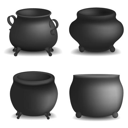 Cauldron pot halloween mockup set, realistic style