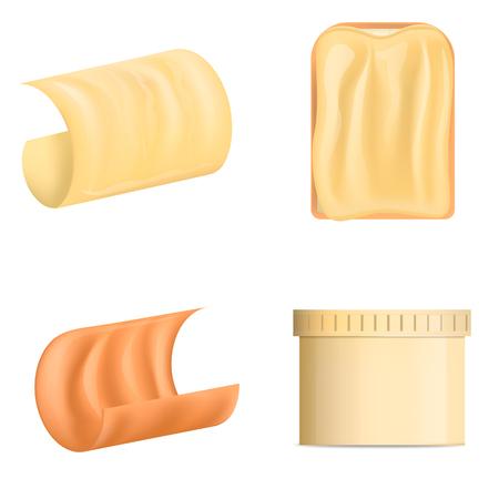 Butter Curl Block Icons Set, realistischer Stil