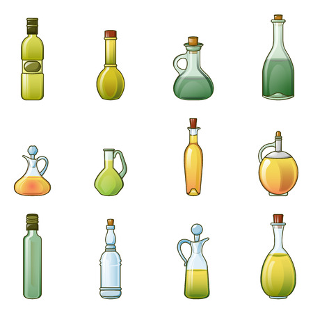 Vinegar bottle icons set. Cartoon illustration of 9 vinegar bottle icons for web