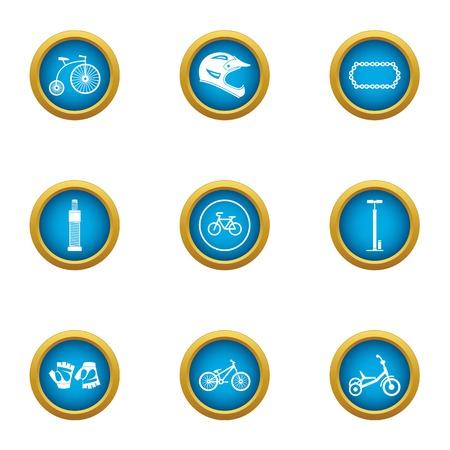 Velocipede icons set, flat style
