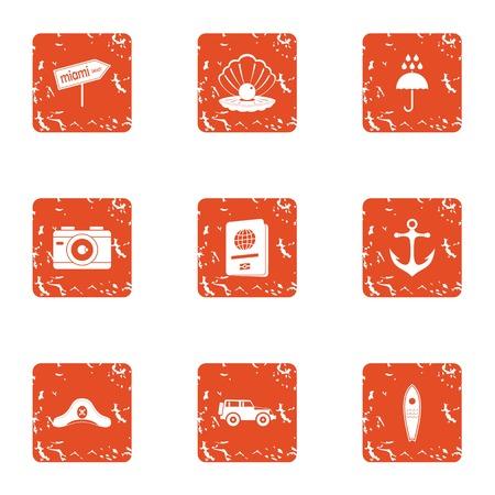 Boatbuilder icons set. Grunge set of 9 boatbuilder vector icons for web isolated on white background Çizim