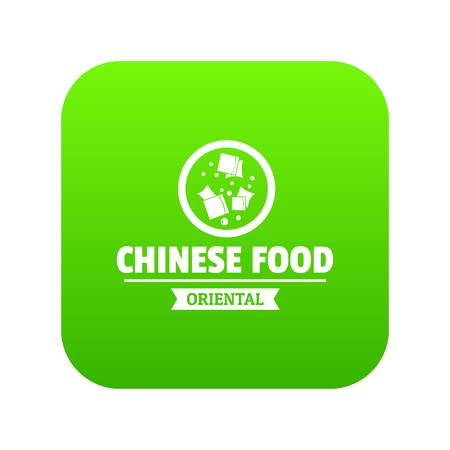 Chinese food icon green vector