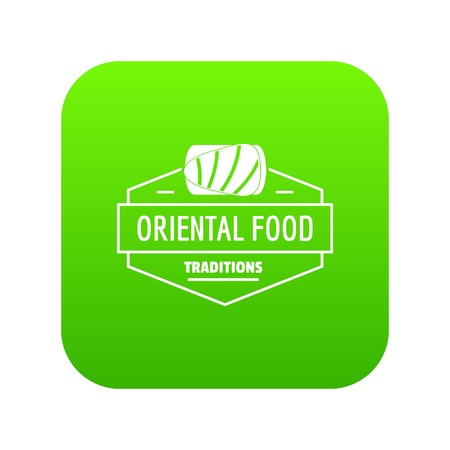 Oriental food icon green vector