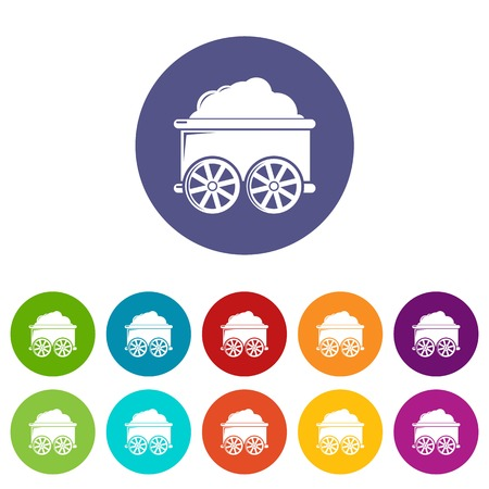 Train wagon icons color set vector for any web design on white background