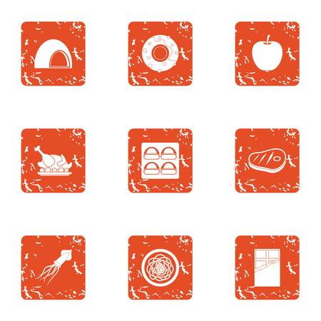 Delicacy meat icons set. Grunge set of 9 delicacy meat vector icons for web isolated on white background