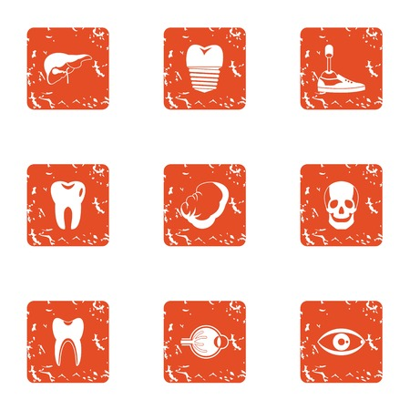 Skeleton person icons set. Grunge set of 9 skeleton person vector icons for web isolated on white background Illustration