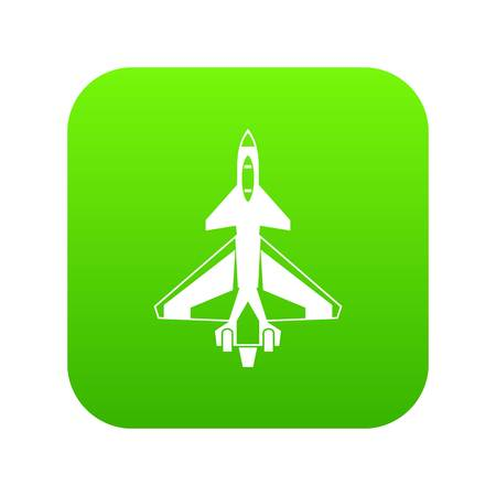 Military fighter jet icon digital green for any design isolated on white vector illustration