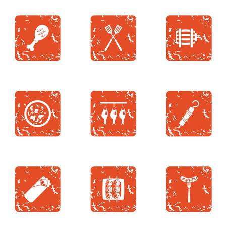 Felting fish icons set. Grunge set of 9 felting fish vector icons for web isolated on white background