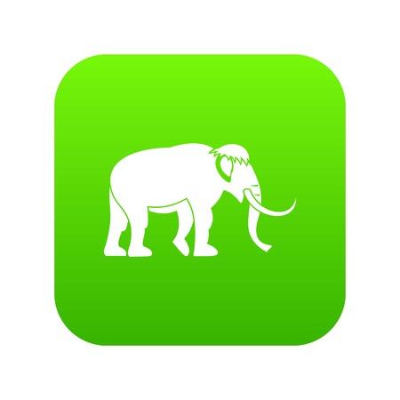 Mammoth icon green vector Illustration