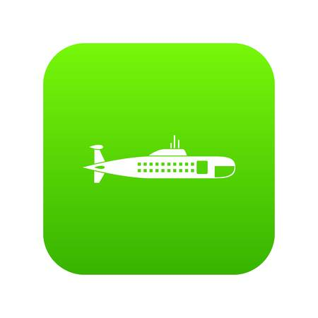 Military submarine icon digital green for any design isolated on white vector illustration Illustration