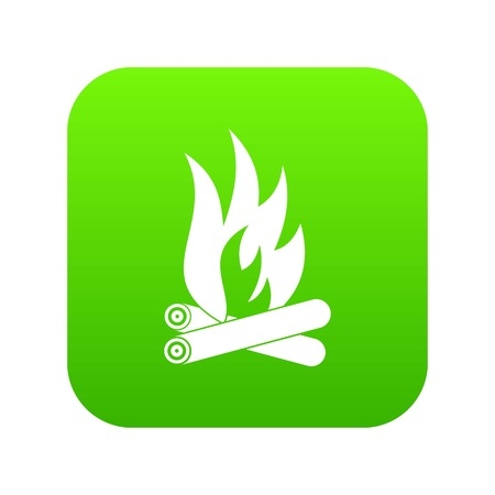 Bonfire icon green vector Illustration