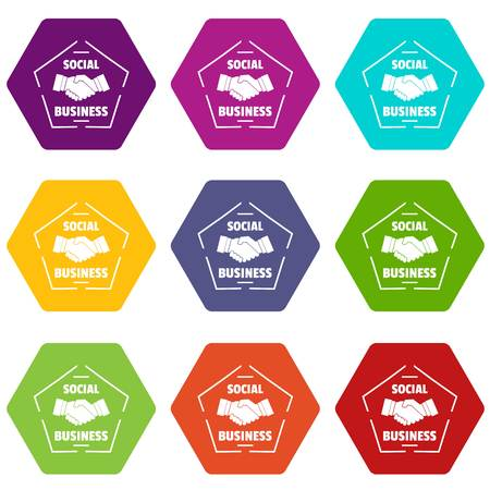 Social business icons set 9 vector