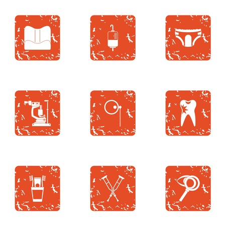 Inpatient icons set. Grunge set of 9 inpatient vector icons for web isolated on white background Ilustración de vector