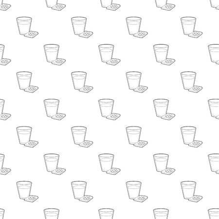 Glass of water and sleeping pills icon. Outline illustration of glass and sleeping pills vector icon for web design Illustration