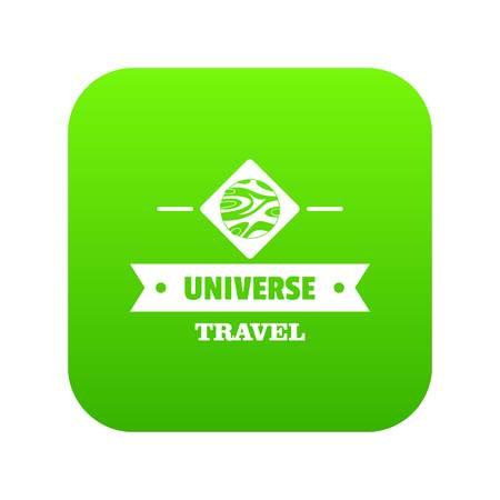 Universo viaje icono vector verde