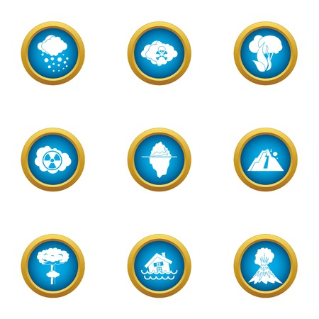 Exhaust icons set. Flat set of 9 exhaust vector icons for web isolated on white background