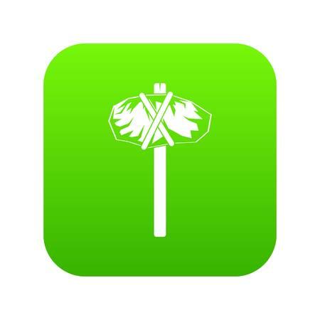 Stone hammer icon green vector