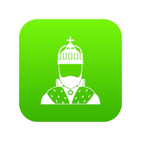 King icon digital green for any design isolated on white vector illustration