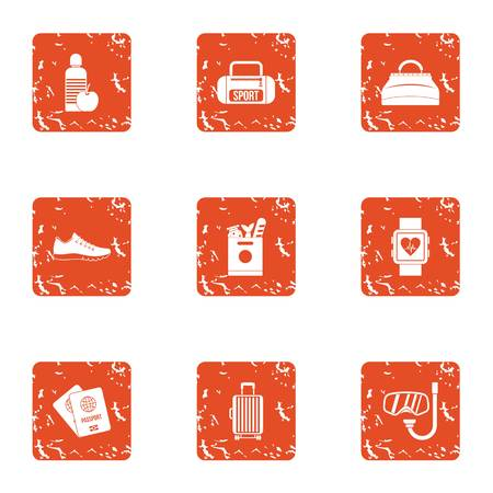 Weight management icons set. Grunge set of 9 weight management vector icons for web isolated on white background 向量圖像