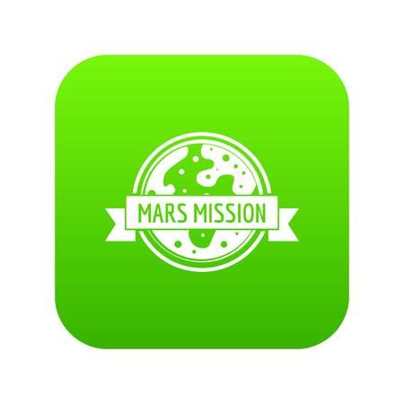 Marte viajes icono vector verde