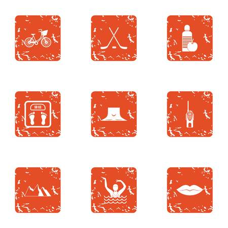 Weight control icons set. Grunge set of 9 weight control vector icons for web isolated on white background