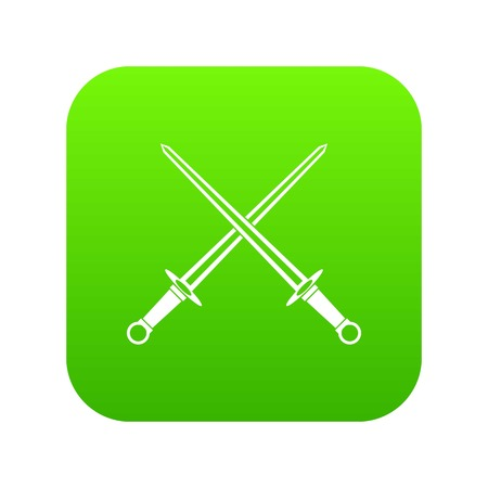 Swords icon digital green for any design isolated on white vector illustration