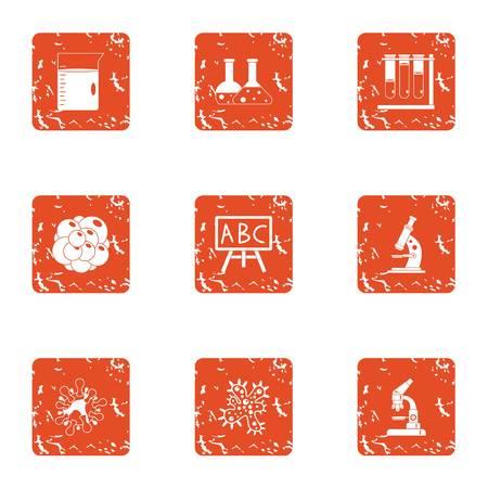 Chemical preparation icons set. Grunge set of 9 chemical preparation vector icons for web isolated on white background